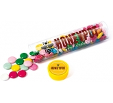 Maxi Clear Sweet Tubes - Chocolate Beanies  by Gopromotional - we get your brand noticed!