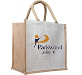 Maple Two Tone Natural Jute Gift Bag  by Gopromotional - we get your brand noticed!