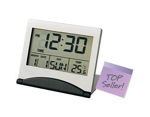 Folding Slimline LCD Metal Alarm Clock