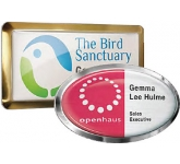 Full Colour Framed Clear Domed Metal Name Badge  by Gopromotional - we get your brand noticed!