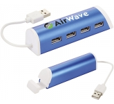 Metro Aluminium 4 Port USB Hub and Phone Stand  by Gopromotional - we get your brand noticed!