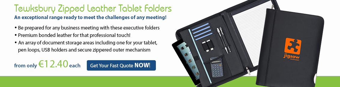 Tewksbury Zipped Leather Tablet Folder