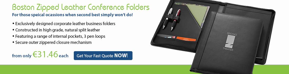 Boston Zipped Leather Conference folder