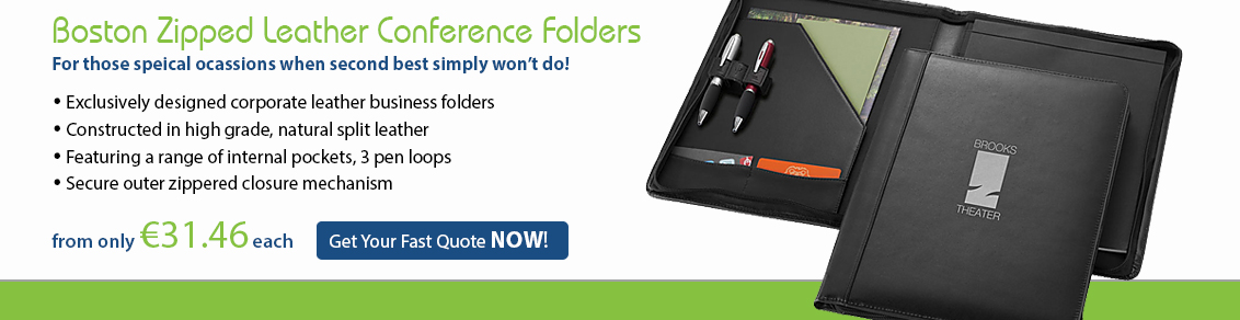 Boston Zipped Leather Conference folder