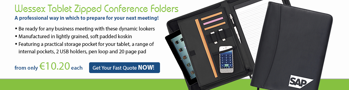 Wessex Tablet Zipped Conference Folders