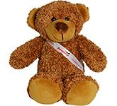 30cm Barney Bear With Ribbon Sash - Chestnut