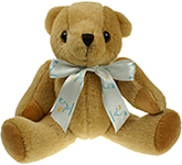 25cm Jointed Honey Bear With Bow