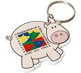 Pig Shaped Plastic Recycled Keyring
