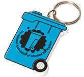 Wheelie Bin Shaped Recycled Plastic Keyring