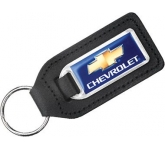 Large Rectangular Leather Epoxy Domed Medallion Keyring