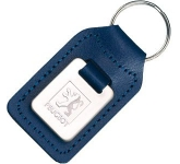 Small Rectangular Die Stamped Polished Medallion Leather Keyring
