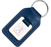 Small Rectangular Die Stamped Polished Medallion Leather Keyring