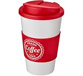 Classic Americano Grip 350ml Take Away Mugs - White - Spill Proof Lid