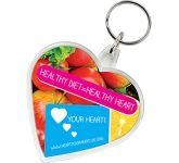 Heart Shaped Acrylic Plastic Keyring