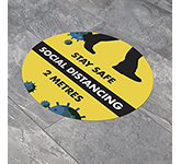 Round Anti-Slip Social Distancing Floor Stickers - 300mm