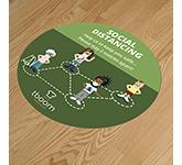 Round Anti-Slip Social Distancing Floor Stickers - 400mm