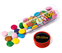 Midi Clear Sweet Tubes - Chocolate Beanies  by Gopromotional - we get your brand noticed!